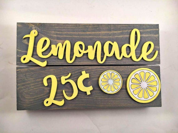 Lemonade 25 cents sign Lemonade stand Summer sign YardLemonade Sign
