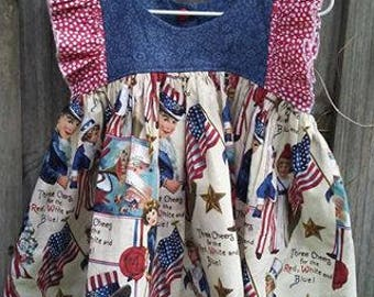 VINTAGE SKIRT/Blue Bodice/Red Ruffle - Patriotic Tunic 2 Available - Sizes 2T and 3T