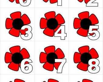 Poppies - Numbers 0-31 Pocket Chart Cards - CALENDAR  - Perfect for Preschool - Kindergarten - homeschool - Instant Download