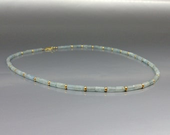 Fine and elegant necklace with Aquamarine and 14K gold parts and clasp - gift idea - elegant fine jewelry - mat tubes - solid gold - natural