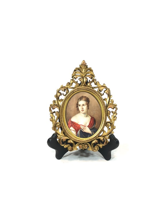 Antique Miniature Portrait, Mid 19th Century Victorian Woman, Red Dress Blue Shawl, Water Color on Paper, Gilded Wood Frame, Estate Portrait