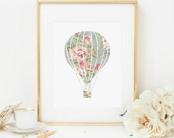 Hot Air Balloon Printable Nursery Balloon Wall Art Floral Nursery Decor Aqua and Pink Nursery Wall Art Girl Nursery Art Shabby Nursery Decor