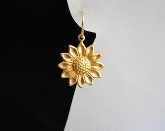 Gold Daisy Earrings -- Gold, Brass Daisies, Minimalist Earrings, Modern Earrings