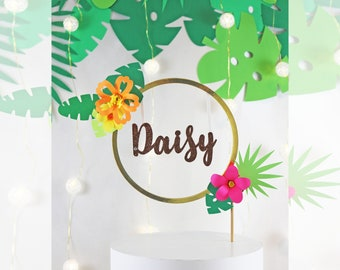Tropical/Luau/Hawaiian Party/Summer/Customized Name with Circle Gold Frame,Wreath on Neon Flowers Cake Topper,Centerpiece,Topper-Baby Shower