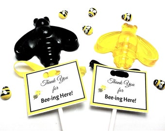 12 LARGE BUMBLE BEE Lollipops with Personalized Tags and Ribbon - Bee Lollipops, Garden Party Favors