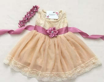Rustic flower girl dress Champagne flower girl lace dress Country Flower girl dress Baby girl lace dress First birthday dress, Dusty pink