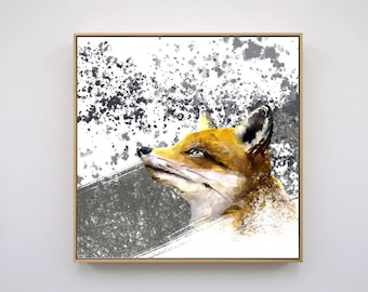 Grey and White Fox Original Art Instant Download Printable