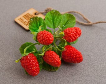 Raspberries hair clips ‒ Hair clips ‒ Hair twig ‒ Hair pins ‒ Berry branch ‒ Polymer clay