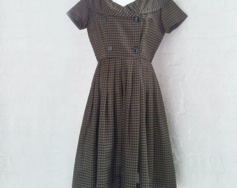1950s Black Check Plaid Fit Flare Dress 50s Vintage Stacy Ames Olive Gingham Cotton Full Pleated Skirt Portrait Collar Medium Large Dress