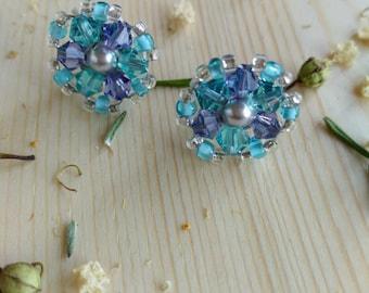 Purple Waters Beaded Post Earrings