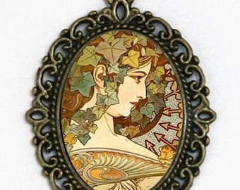 Art Nouveau Goddess  necklace Girl mucha Ivy