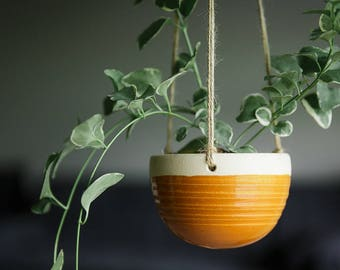 CERAMIC HANGING PLANTER // Mother's Day gift - handmade - succulent planter - string of pearls- hostess gift- greenery decor- deep goldenrod