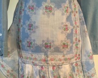 Vintage blue and white handkerchief apron