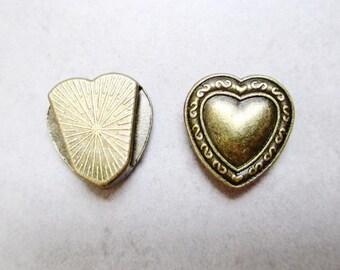 1 width heart bronze tone metal