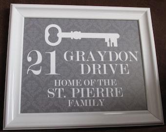 Custom Family Name and  Address printable, skeleton key, damask, personalized, housewarming, wedding, bridal shower, Christmas gift