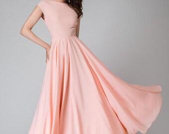 Pink long dress, Maxi dress, maxi prom dress, V neck dress, cap sleeve dress, chiffon maxi dress, women dresses, bridesmaid dress  1526