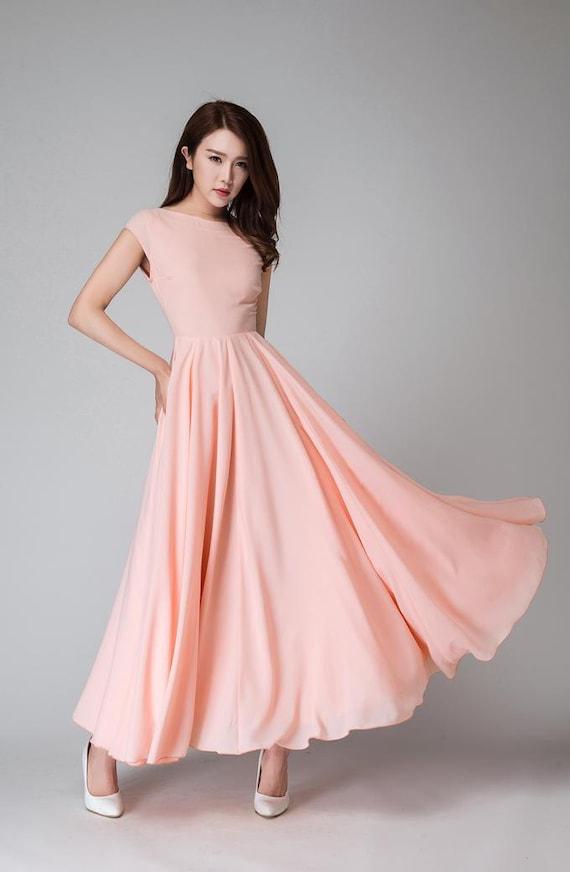 brautjungfernkleid Rosa langes Kleid Maxi-Kleid Maxi Kleid