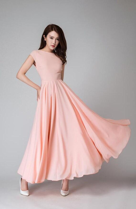Rosa Lang Kleid