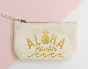 Aloha Beaches makeup bag- Cosmetic bag- Unique gift- Toiletry bag- Glitter cosmetic bag- Inspirational-Personalised cosmetic bag-Mermaid
