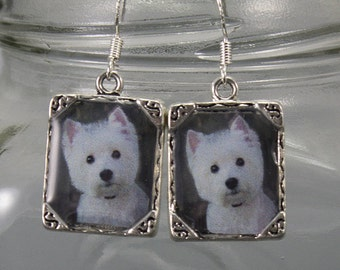 Westie West Highland Terrier Dog Earrings Puppy 3D Dimensional Picture Jewelry Silver