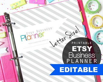 Etsy Shop Planner, Printable Pages, Editable Inserts - Small Business, Online Sellers, Direct Sales, Letter Size
