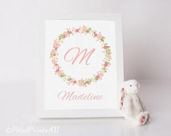 Floral CUSTON NAME PRINT, Nursery/Playroom printable art