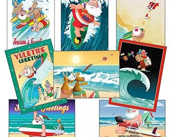 Surfing Christmas Card Variety Pack - 24 cards & envelopes - 91