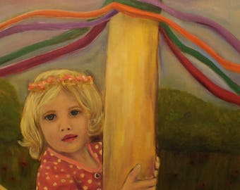 UNDER THE MAYPOLE, Framed 18 x 24 Original Whimsical Oil Painting of girl by Lesley Mills from Merlin's Garden Free Domestic Shipping
