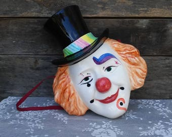 Clown, Vintage Decor, Wall Hanging, Ceramic, Hand Painted, Wall Decor, Circus/Carnival, Collectible Decor