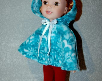"Hooded Poncho for 14.5"" Wellie Wishers or Melissa & Doug handmade Doll Clothes Fleece minty green tkct1202 READY TO SHIP"