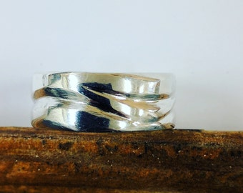 Solid Sterling Silver Wave Ring