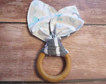 Wooden Teether, Organic Teething Ring, Wooden Bunny Ear Teether, Montessori Teether -Gray White Stripes/Giraffes and Elephants