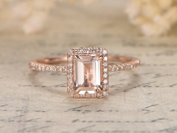 Populaire 14K Rose Gold Morganite Ring Diamond Wedding Ring Half TO39