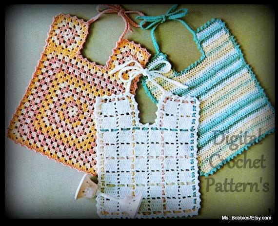 Crochet Bib Pattern Three Bibs Pdf 05292626 From Msbobbies On