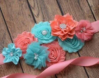 Sash, Aqua , and coral Sash  , flower Belt, maternity sash