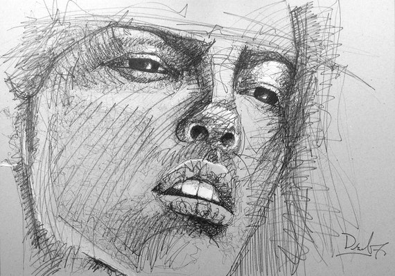 Line Art Portrait : Line drawing portrait beautiful young woman sketch