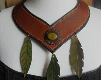 Leather necklace tribal fusion crew neck of the wild Warrior, leaves and nature
