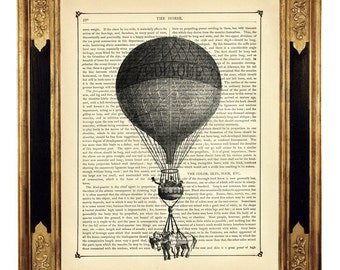Airship Hot Air Balloon Poster Horses Art - Vintage Victorian Book Page Art Print Steampunk
