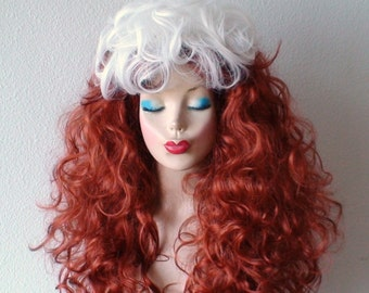 Cosplay wig. Long curly Auburn red hair/ white hair wig. Durable Adult costume wig. Halloween costumes.