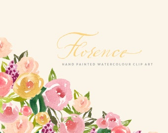 Flower Watercolour Clipart, Hand Painted Graphics - Florence