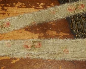 Tattered Tea Stained Fabric Petite Ribbon Robin Egg Blue Peach Roses Rare Fabric 1