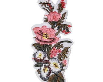 Pink Flower Iron on / sew on Embroidery Patch Badge Embroidered floral white flower Motif