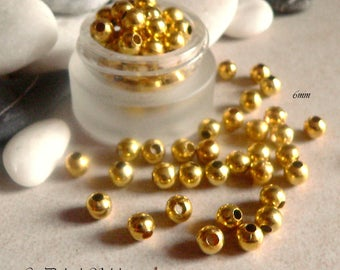 25 beads 6mm Golden brass