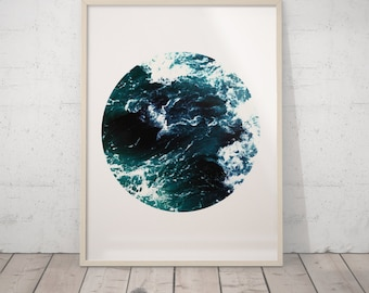 Ocean Waves, Ocean Wall Art, Trending Now, Navy Print, Downloadable Print, Wave Art, Ocean Print, Sea Art, Circle Printable Art, Ocean Decor