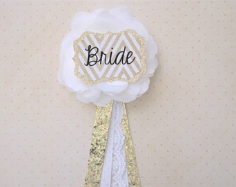 Bride To Be Button (White Lace & Gold Glitter Ribbon) Bridal Shower Flower Corsage Pin, Bridal Brunch, Bachelorette Party, Future Mrs, Groom