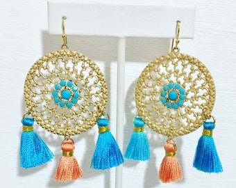 Turquoise and coral tassel esrrings