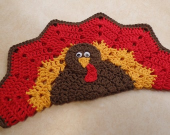 Easy Crochet Turkey PlaceMat Decorative HotPad/Potholder Pattern DIGITAL DOWNLOAD ONLY