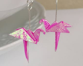 Origami paper Flamingo-Origami Jewellery-Paper Jewellery-Origami Bird Paper Earrings Earrings-Dangle& Drop earrings-Valentine's Day