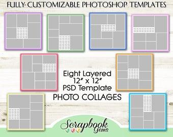 "PHOTO COLLAGE Scrapbook Templates, Eight 12"" x 12"" Pocket Digital Scrapbook Layered PSD Format photoshop digiscrap blogboard editable"