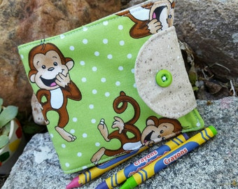Monkey Crayon Wallet, Kids Crayon Billfold, Crayon Holder